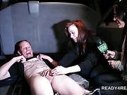 Slutty amateur girl giving handjob for loads of cash