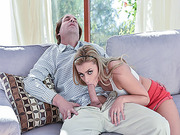 Dirty daddys fat cock suck by Adria Rae in the couch