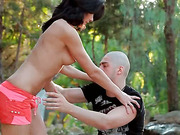Babe gives blowjob in the forest