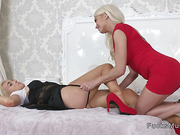 Two big tits Milf lesbians fucking