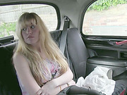 Busty Stevie pays sex for her taxi fare and her hairy cunt gets exposed