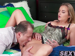 Big natural boobs babe Candy Alexa drilled by mature dude