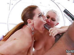Lezzie bombshells gape their deep buttholes and ride thick fuck toys