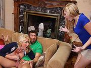 Naughty teacher Karen goes for threesome
