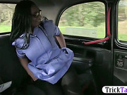 Horny black nurse in spectacles fucked in a cab and filmed