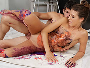 Taras pussy got fucked on top of a white canvas