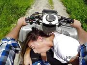 Hot teen hiker bangs on a quad outdoor