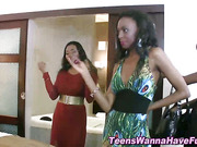 Party teens stripping and dancing