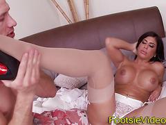 Busty slut foot tugging