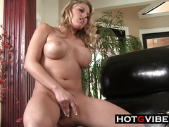 Blonde Fingers Her Shaved Wet Pussy