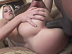 Tiny blonde Jessie Volt gets fucked with a big black cock
