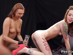 Sluts on heels toy cunts in lesbo piss action