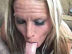 Blonde MILF Skylar Rae is blowing a guy she just met