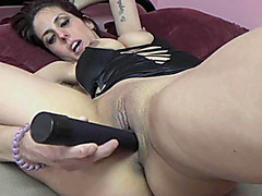 Busty wife Lavender Rayne masturbates with her big dildo