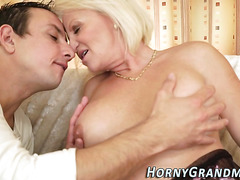 Granny slut sucking cock